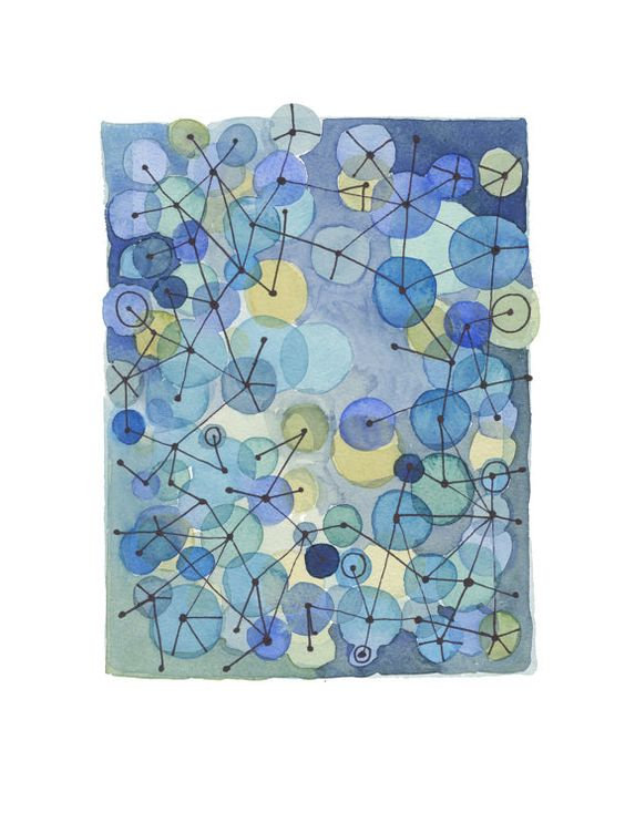 Constellation Blue dots - Original watercolor painting by LouiseArtStudio