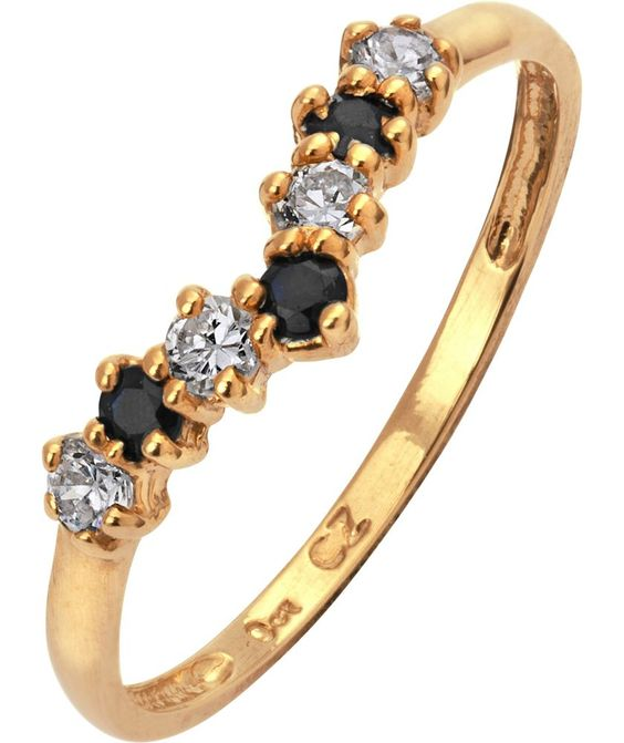 Buy 9ct Gold Sapphire and Cubic Zirconia Wishbone Ring at Argos