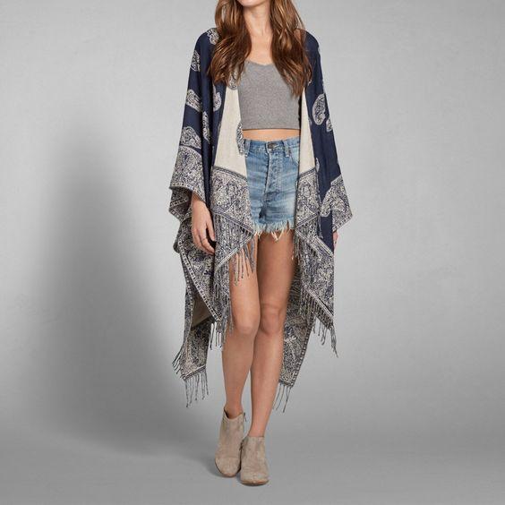 Womens Pattern Blanket Poncho | Womens Sweaters | Abercrombie.com