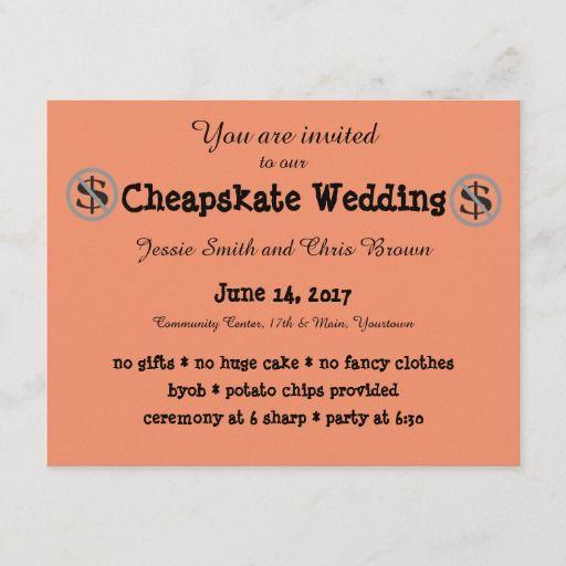Funny Cheapskate Wedding Invitation Zazzle Com Funny Wedding Invitations Wedding Invitations Offbeat Wedding