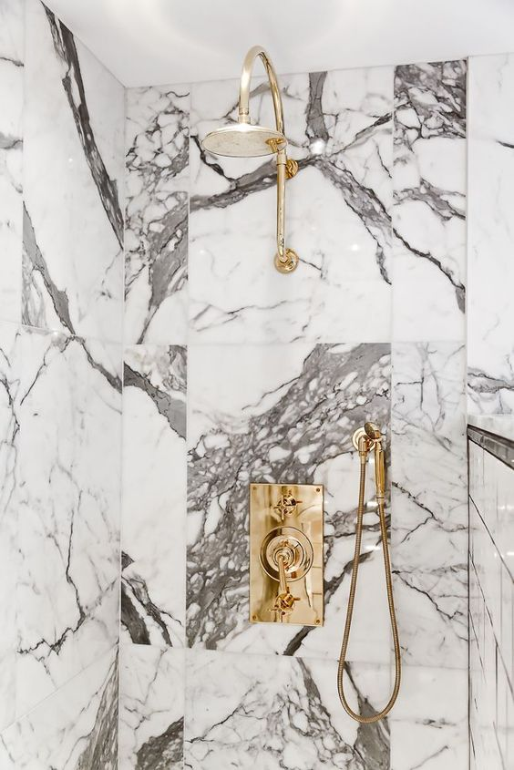 Marble shower. @thecoveteur