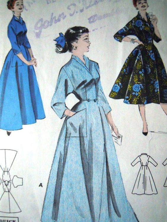 Vintage 1950s Butterick Sewing Pattern 7461 Housecoat B 34
