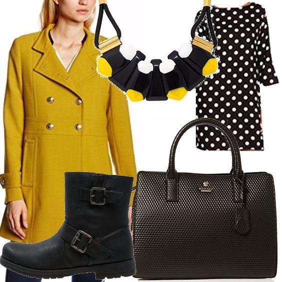 Soprabito giallo e sei super trendy quest'anno! Io decido di abbinarlo a un abitino nero, ampio a pois neri, stivaletti neri molto aggressive e super borsa. La collana in resina nera, gialla e bianca fa la differenza!
