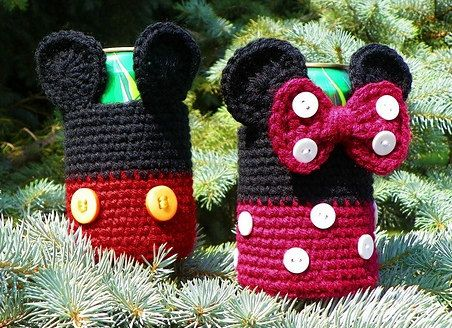 Hand Crocheted Mickey and Minnie Can Cozy - $20.00    Find this at Passionate Knitting: www.etsy.com/shop/passionateknitting