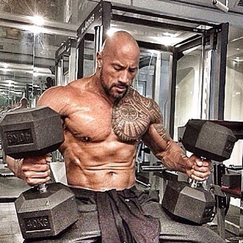 """I'm so addicted to getting all sweaty! #rocky #therock #fitness #hashtag  #iliftmorethanu"""" 