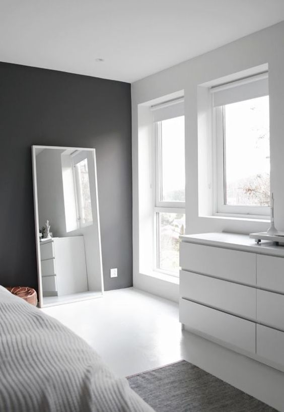 Minimal Interior Design Inspiration - how I love dark walls in contrast with white walls