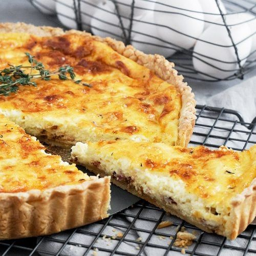 Classic Quiche Lorraine Bacon Onion And Gruyere Cheese Cooked Up In A Rich Cream And Egg Custard Grea In 2020 Quiche Lorraine Recipe Quiche Lorraine Brunch Dishes