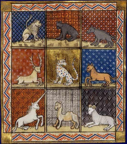 Faune : animaux    Barthélémy l'Anglais, Livre des propriétés des choses  Paris, XIVe-XVe siècle  Paris, BNF, Département des Manuscrits, Français 216, fol. 283