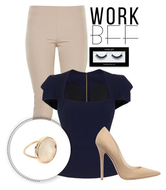 """""""Work"""" by janass ❤ liked on Polyvore featuring The Row, Roland Mouret, Jimmy Choo, Ginette NY and Inglot"""