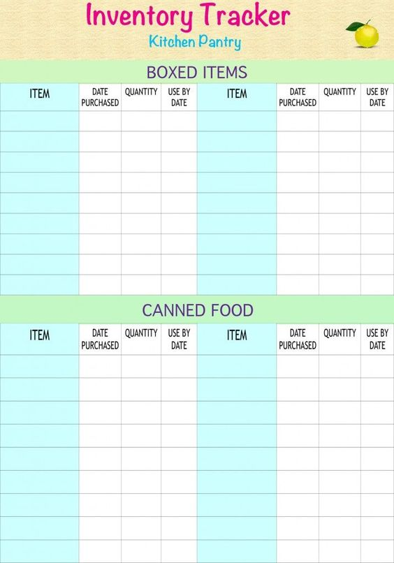 Free Household Notebook with 36 Printables Pantry Inventory List - food inventory template