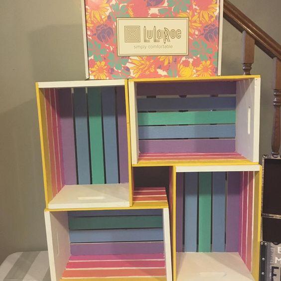 LulaRoe hand painted crate shelf for leggings. So cute! #leggingstorage #lularoe #lularoom #leggings LuLaRoeJamieWard