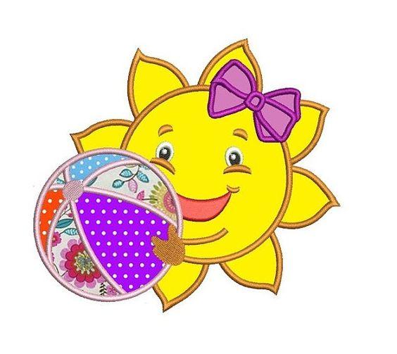 Cute Sun Applique with a beach ball  and a bow by EmbroideryMonkey