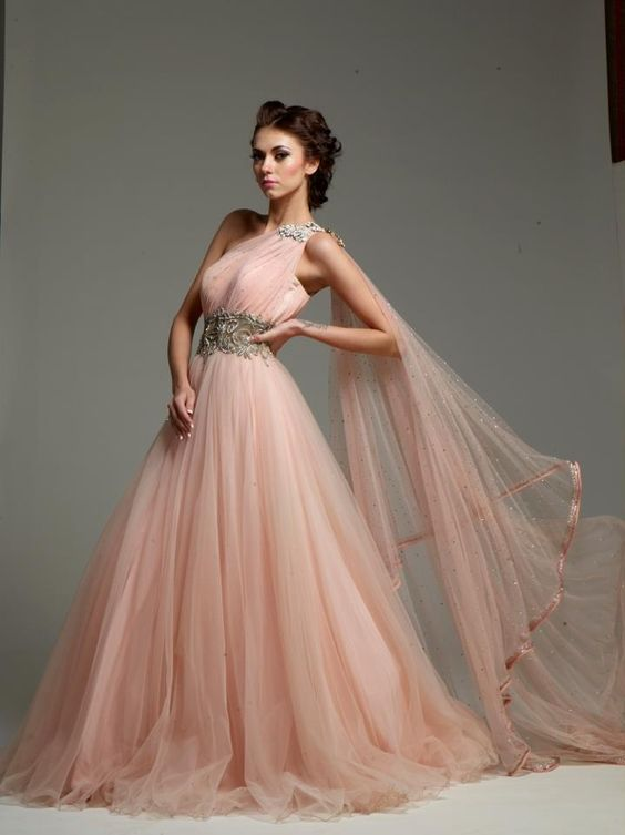 Peach Color Indo Western Gown Pastel Pink Weddings