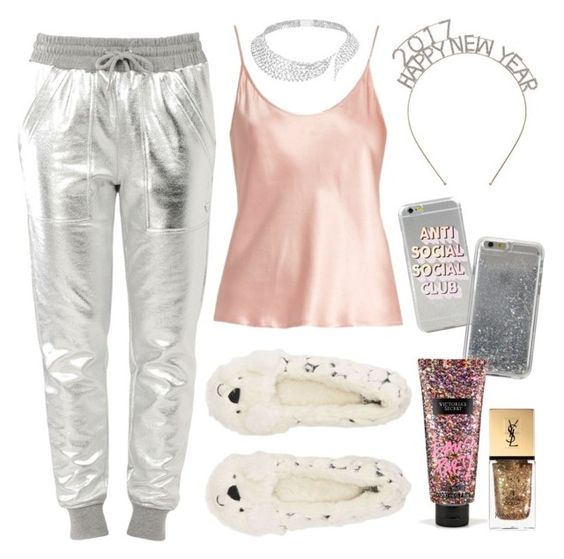 """""""NYE in bed:)"""" by trendsetter12 ❤ liked on Polyvore featuring Love Moschino, La Perla, Messika, Agent 18, Victoria's Secret and Yves Saint Laurent"""
