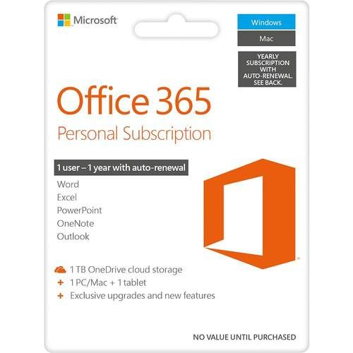 Office 365 Personal 1 User 1 Year Subscription Auto Renew Android Mac Windows Ios Larger Front Office 365 Personal Cool Things To Buy Office 365