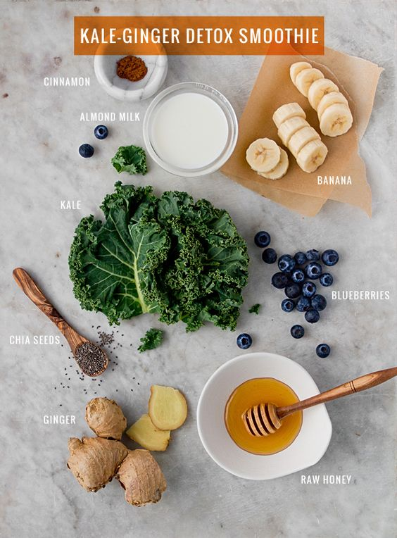 Kale-Ginger Detox Smoothie - could easily make this vegan and replace the honey with coconut nectar or a couple of dates