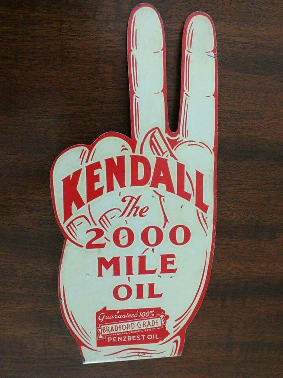 Rare Die Cut Kendall Motor Oils Sign Porcelain Tin