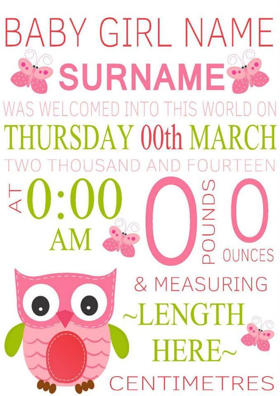 typographicallyspeaking Baby girl birth announcement wall – Birth Announcement Website