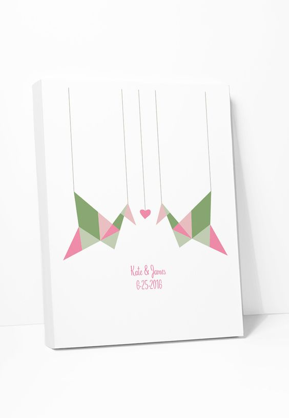 Canvas Print: Personalized Origami Birds