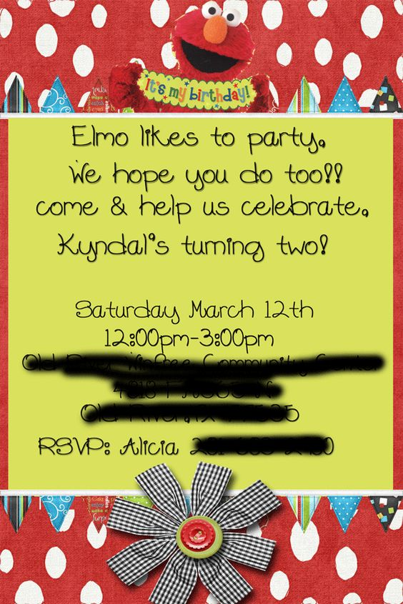 Elmo girl party invite