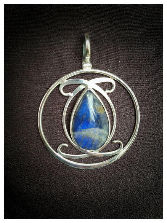 Blue Labradorite Medallion Pendant- Sterling Silver Pendant- Unique Silver Stone Pendant via Etsy