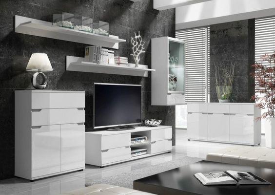 ALASKA proste nowoczesne meble do salonu białe w połysku z - schwarz weiß wohnzimmer