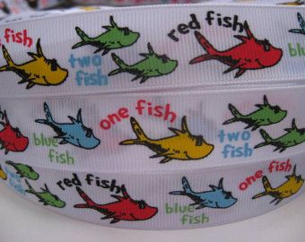 """7/8"""" 1"""" One Fish Two Fish Red Fish Blue Fish Dr. SEUSS Inspired White Printed Grosgrain Ribbon Hair Bow Supplies - 5 YARDS"""