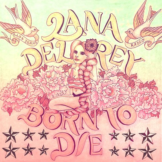 Hand drawn Lana Del Rey Record cover - edited in photoshop www.marieleedesign.com