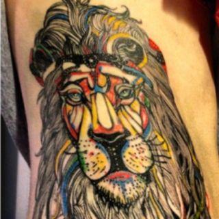 Rainbow lion tattoo