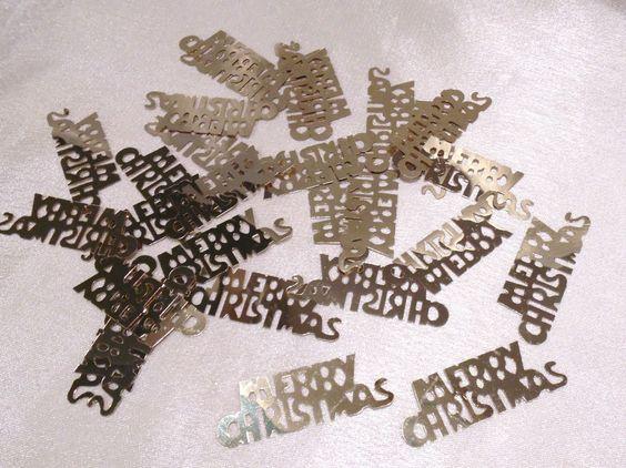 Streudeko,Merry Christmas, Gold. 30 Stück, ca. 5 x 1,8cm