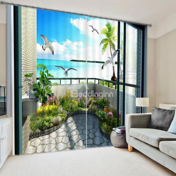 High Quality 3D Scenery Energy Saving Curtain on sale, Buy Retail ...