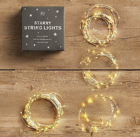 Starry string lights: battery operated LED lights on wire that can be wrapped around wreaths, bannisters, and other indoor decorations where you may not have access to a plug.