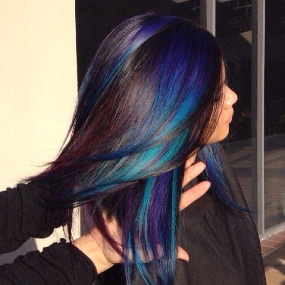 peacock hair color. Love!!