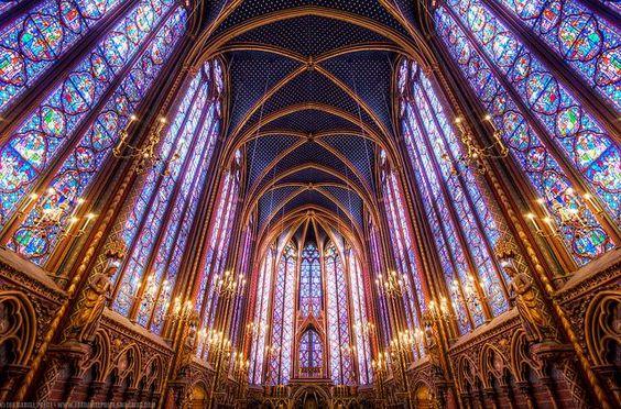 La Sainte-Chapelle, Paris - built between 1239-48 to house Louis IX's collection of relics from Constantinople
