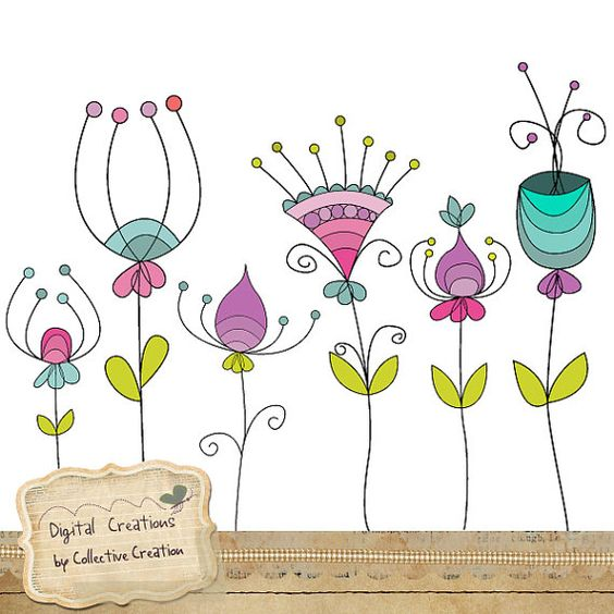 Doodle flores Digital Clipart Set - perfecto para Scrapbooking y artesanías de papel General