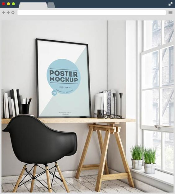 Poster In Interior Free PSD Mockup