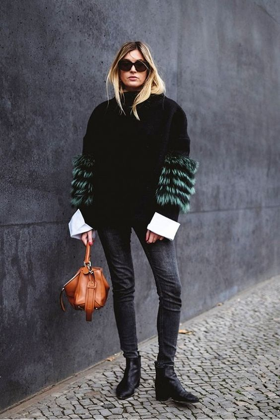huge oversized cuffs, shirt cuffs, fall trends, fur sweater jacket