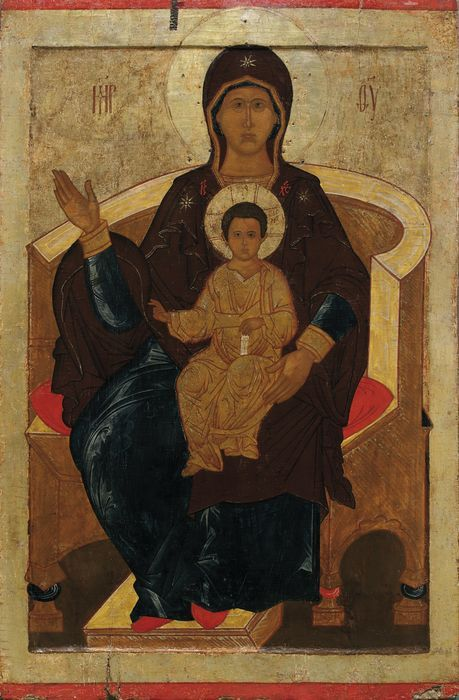 Icon of the Virgin on Throne from Nikolai Kormashov's collection, late 16th century