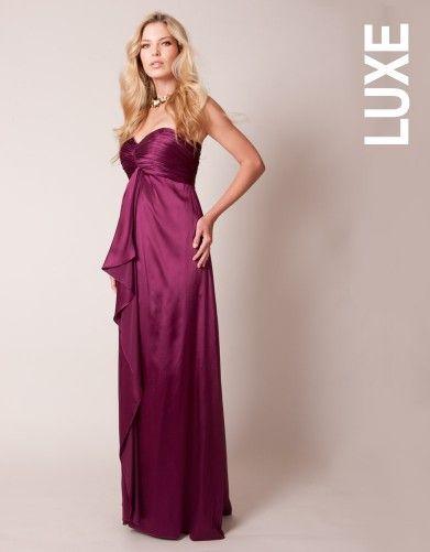 Secret Support Stretch Silk Magenta Maternity Evening Gown ...