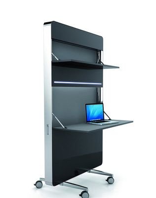 Mobica Nomado, the new, innovative, ergonomic mobile stackable desk system with integrated shelves, storage compartments, and electric outlets. The Mobica Nomado also has task lighting and can be used as a portable ad-hoc wall separator that offers flexibility and economy of space.