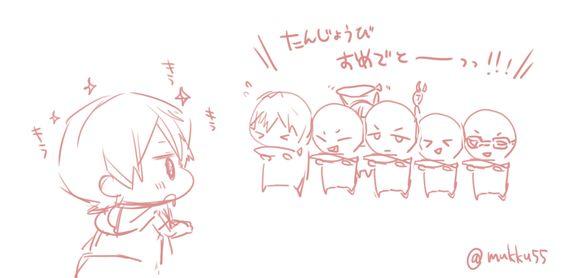 Happy Birthday, Haru (look at him drooling for the saba) ... Drawn by mukku55 ... Free! - Iwatobi Swim Club, haruka nanase, haru nanase, haru, haruka, free!, iwatobi, makoto tachibana, makoto, tachibana, nanase, rei ryugazaki, rei, ryugazaki, nagisa hazuki, hazuki, nagisa, sousuke, sousuke yamazaki, yamazaki, matsuoka, rin, rin matsuoka, nitori, aiichiro nitori, aiichiro, mikoshiba, momotaro, momotarou, momotarou mikoshiba, momotaro mikoshiba