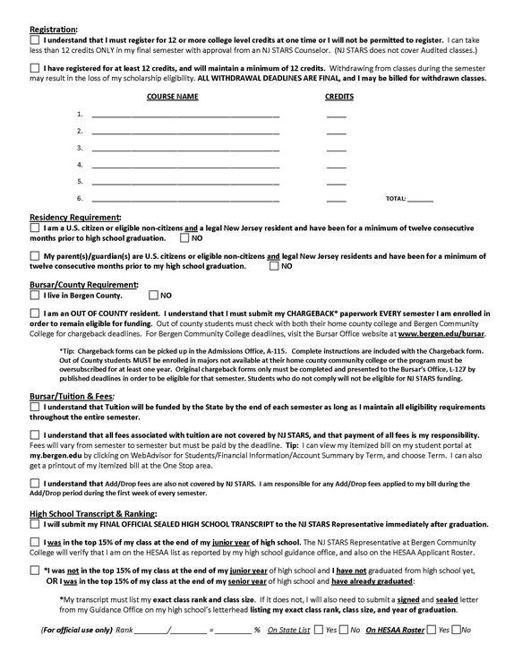 Nj Stars ApplicationContract  Page   Nj Stars Scholarship