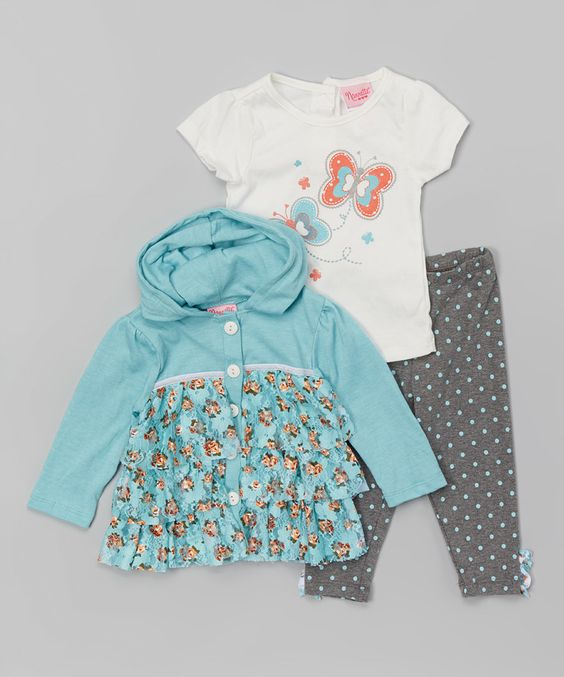 Another great find on #zulily! Blue Floral Ruffle Hoodie Set - Infant, Toddler & Girls by Nannette Girl #zulilyfinds