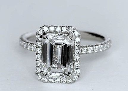 3.52ct Emerald Cut Diamond Engagement Ring GIA certified JEWELFORME BLUE