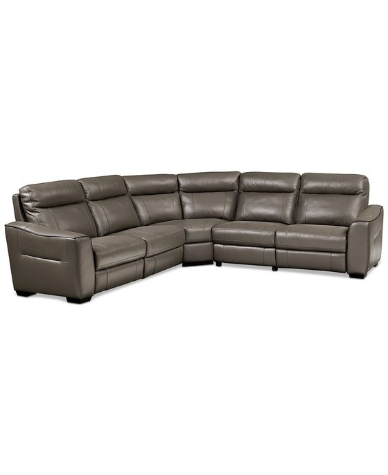 Destin leather 5 piece sectional sofa with 3 power for 5 piece reclining sectional sofa