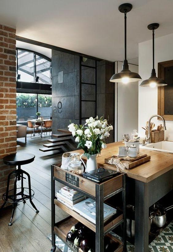 cuisine pas chere mur de briques style industriel vase avec fleurs blanches