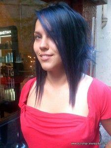 7 coupe femme carre plongeant meche plongeante californienne bleu nuit 12 hair pinterest coupe - Coloration Bleu Nuit