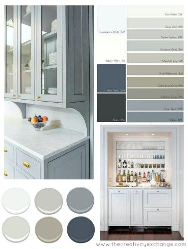 Blue gray and white kitchen cabinet remodel colors