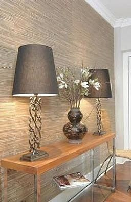 Seagrass wallpaper in the entryway  LOVELOVELOVE the lamps