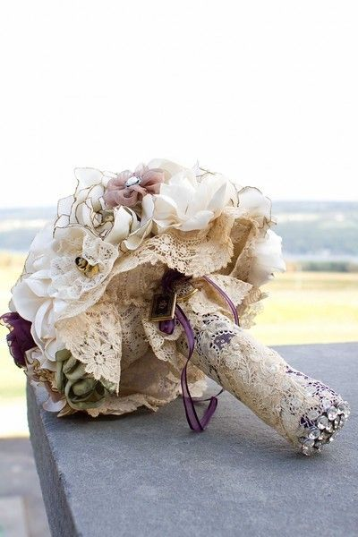 Something borrowed.....? Lace from mom's wedding dress.. love this idea!
